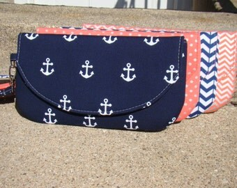 Coral and Navy Set of Bridesmaids Clutches, Custom Made Clutches, Nautical Bridesmaids Gifts,  Navy Bridesmaids Bags, Custom Made Clutches
