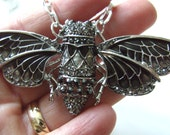 Cicada, Necklace, Grey, Black, Silver, Moth, Butterfly, crystal, By NewellsJewels on etsy