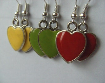 Yellow, red, green, Enamel, love hearts, Earrings, mothers day, Valentine's day, gift idea, by NewellsJewels on etsy