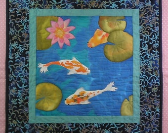 Koi Fish Hand Painted Art Quilt Wall Hanging or Table Topper Quiltsy Handmade