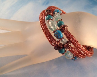 Copper and Turquoise Viking Knit Bangle Beacelet Wraps around Two and One Half Times Fits All Wrist Sizes Previously 39 Dollars ON SALE