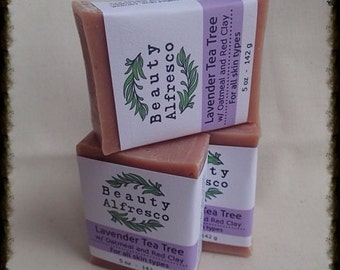Lavender Tea Tree Eucalyptus Peppermint Soap Bar with Oatmeal and Red Clay