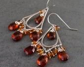 Art Deco citrine chandelier earrings, handmade OOAK sterling silver earrings