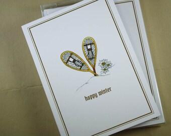 Set of Snowshoe Notecards Happy Winter Edelweiss Nordic Scandinavian Alpine, Set of 8