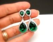 wedding jewelry bridal jewelry wedding earrings bridal earrings Clear white teardrop AAA cubic zirconia emerald green crystal teardrop post