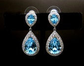 wedding jewelry bridal earrings bridesmaid gift prom party pageant teardrop AAA cubic zirconia aquamarine blue aqua crystal teardrop post