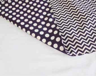 Dark Purple and Cream Chevron and Polka Dots Waterproof Changing Pad - large size