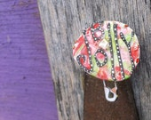 Christmas Pin, Secret Santa gift, Funky Xmas, B Jolly Pin, Upcycled Pin Recycled Bent Bottle Cap Jolly Xmas Pin  shipping included