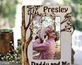 Father's Day Gift, Rustic Daddy and Me Picture Frame, Wood Burned, Personalized