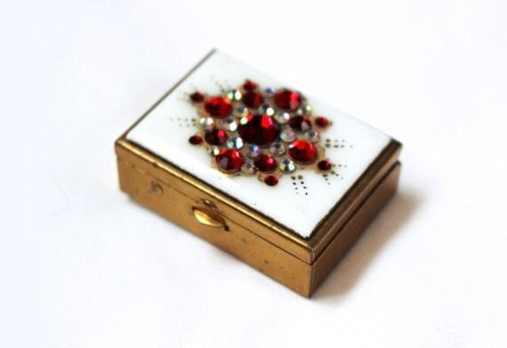 Vintage Pill Box Rhinestone 1960s Metal Tiny Small Jewel