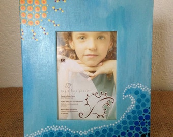 Hand Painted Mosaic Dot Art Ocean Picture Frame