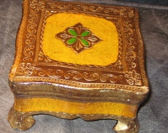A Touch Of Chic For Your Trinkets  Vintage Italian Florentine  Gold Box