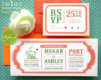 Christa: Eco-friendly wedding invitation. Green, coral, nautical, sailing, art nouveau, smooth sailing [DEPOSIT]
