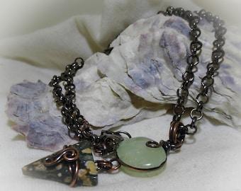 Green Prehnite Ocean Jasper Wire Wrapped Copper Stone Necklace
