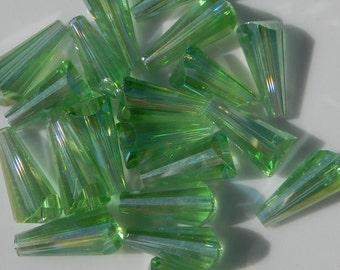 Light Green Cone Glass Beads Qty 20