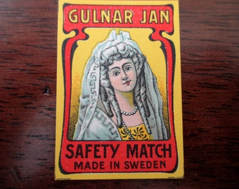antique Swedish matchbox paper - unused, label