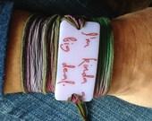 I'm kinda a big deal, Personalized Bracelet fused glass wrap bracelet on hand dyed silk ribbon