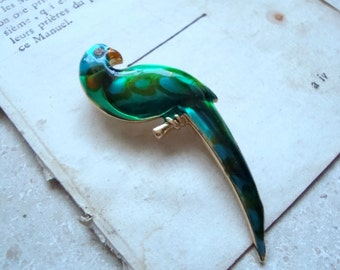 Green Parrot Pin, Enamel Brooch, Macaw Pin, Summer Fashion, Tropical, Beachy 1950s Kitsch Gifts Under 20 Jungle Bird Lovers  Large Pin