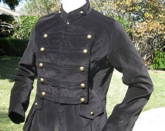 Black Velvet chic military steampunk jacket brass buttons fitted waist