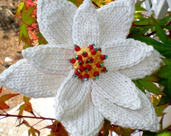 Poinsettia Flower Instant Download PDF Knitting Pattern