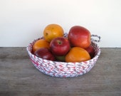 Fruit Basket - Pink Coiled Basket - Fruit Bowl - Rope Basket