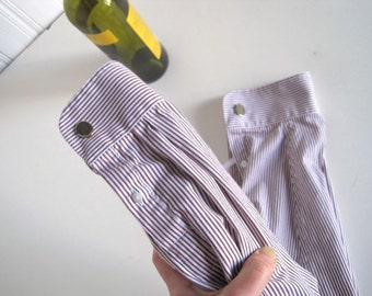 Wine Bottle Bag - Bottle Bag Upcycled Shirt - Blue Shirt Bags - Cufflink Presentation Gift