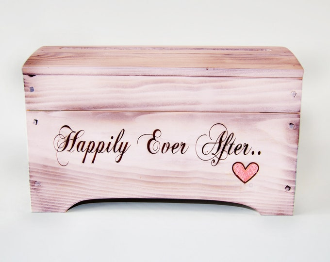 Medium 'Happily Ever After' Card Box for Wedding Cards in Light Pink with card slot