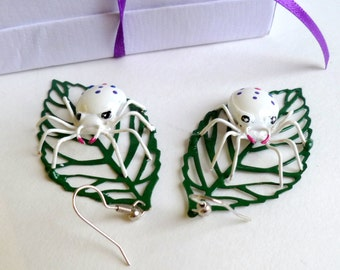 Spider Jewelry White Spider on Leaf Pierced Earrings Handmade Pair