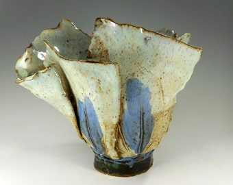 Ceramic art vessel, Dream Pot,  pottery sculpture, hand built pottery vessel, stoneware art pot, free form sculpture pot