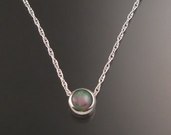 Opal Necklace Sterling Silver Invisible bail