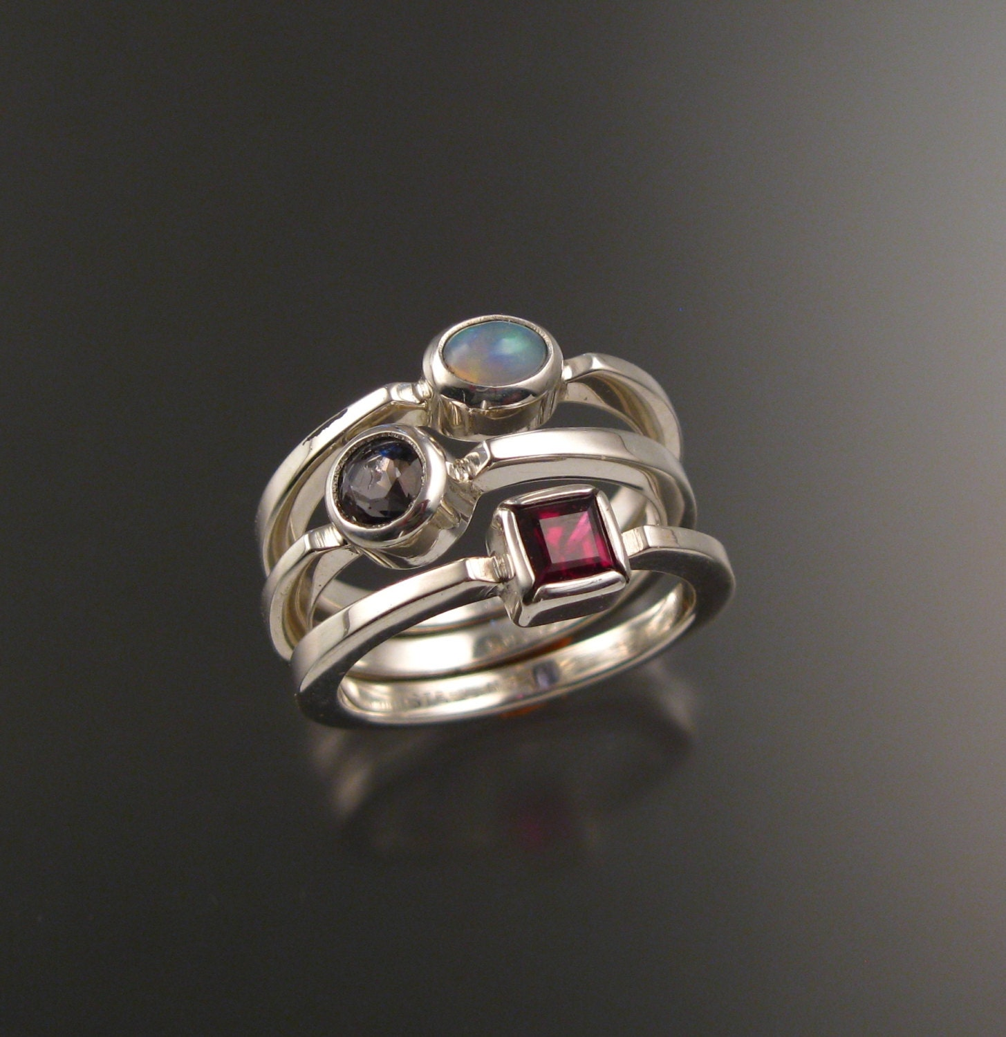 stackable mothers birthstone ring set of three sterling silver