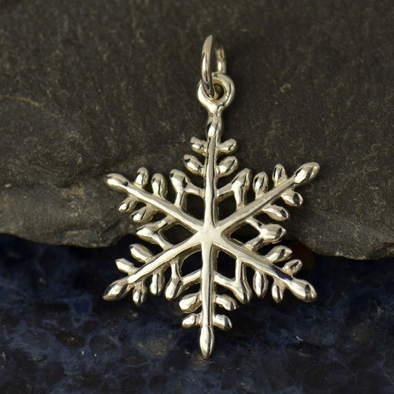 Large Sterling Silver Snowflake Charm - Winter, Icicles, Snow, Water, Love, Magical