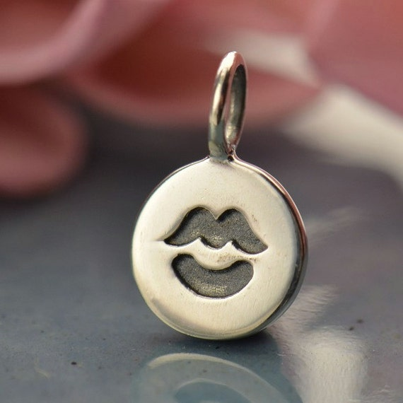 Large Quantity Disc - Sterling Silver Kiss Charm - Stamped Charms, Love, Friendship, C726
