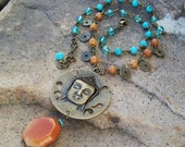 Buddha Medallion Pendant Necklace - Gemstone Beaded Chain Bohemian Necklace - coin charmed Gyspy necklace