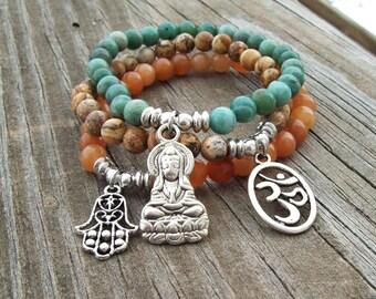Charmed 3 Stack Stretch Bracelets - Hamsa Guanyin Ohm - Yoga Bracelets - gemstone bracelets