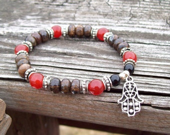 Acceptance - Bronzite and Carnelian gemstone Meditation stretch Bracelet - silver hamsa hand charmed bracelet - Yoga bracelet