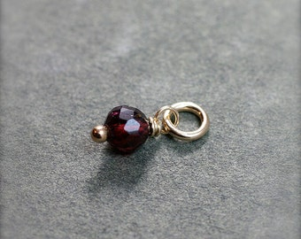 Tiny Garnet January Birthstone Charm, 14k Gold Filled Wire Wrapped Stone Pendant - Add a Dangle