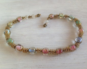 Unique Vintage 60s Mod Style Glass Beaded Jewelry Choker Necklace