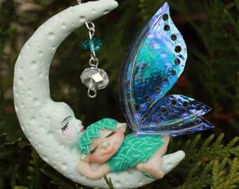 Moon Prince and Aiden Christmas Fairy fae faerie ooak art doll miniature nursery ornament troll gnome
