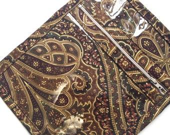 Small Fabric Bag Vinyl Bag Zipper Bag Brown Paisley Sac  Knitting Organizer Jewelry Case  Cosmetic Bag Make Up Bag Travel Bag