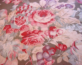 Laura Ashley Decorator Fabric English Country Print -Gorgeous Roses Fruit Strawberries Cherries -Pink Raspberry Red Sage Green Blue BTY