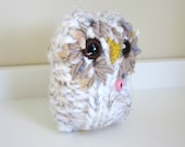 Pink Heart Love Owl, Art Doll, hand knit wool and mohair plush cozy owl