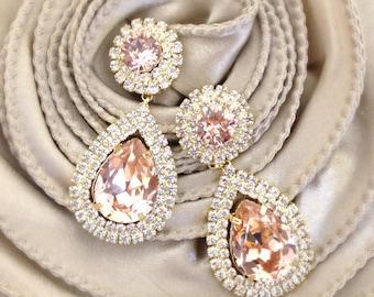 Blush Crystal Drop Earrings- Swarovski Bridal Earrings- Blush Crystal Earrings- Chandelier Bridal Earrings