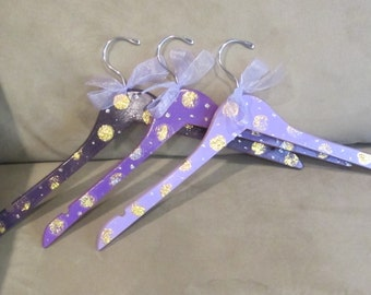 Set of three unique GIFT hangers, for TEACHERS or friends, custom painted with glitter polka dots, perfect for the girl who has everything