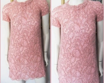 Vtg.60s Dusty Rose Pink Lace Embroidered Mini Dress.S/M.Bust up to 38.