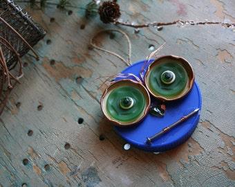 Whooo Loves Junk - Junk Owl Christmas Tree Ornament - mixed media tiny art
