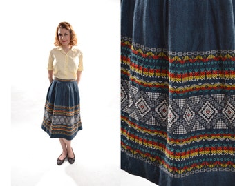 Vintage 1950s Guatemalan Woven Skirt - Pleated Blue Red - Ethnic Boho Fashions