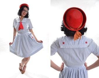 Vintage 1950s Seersucker Sailor Dress - Red White Blue - Spring Fashions