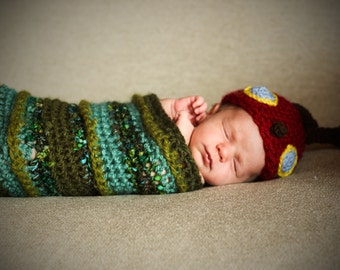 Baby Caterpillar Costume / Caterpillar Photo Prop /  Caterpillar Cocoon/ Newborn Caterpillar Outfit