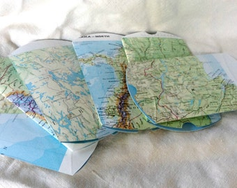 Vintage Map Gift Pillow Box   - Eco Friendly - Recycled